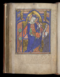 Miniature Of The Virgin And Child Adored By A Benedictine Monk, In The Coldingham Breviary